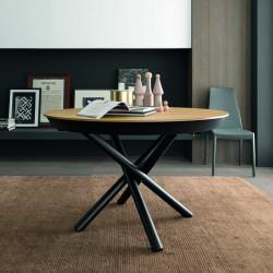 Table ronde ou ovale Fahrenheit piètement métal et plateau verre, céramique ou bois