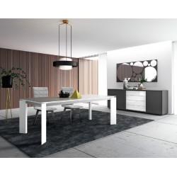 Table de repas en céramique, bois ou verre Sylvia carrée ou rectangulaire