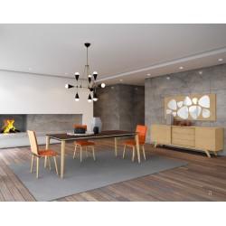 Table scandinave avec piètement en bois massif