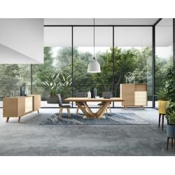Table Camille pieds structurés plateau céramique ou bois ou verre