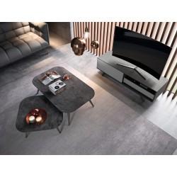 Tables basse design de forme carrée, triangle, ovale ou rectangulaire avec plateau céramique, verre ou bois