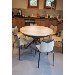 Table ronde extensible plateau céramique ou bois