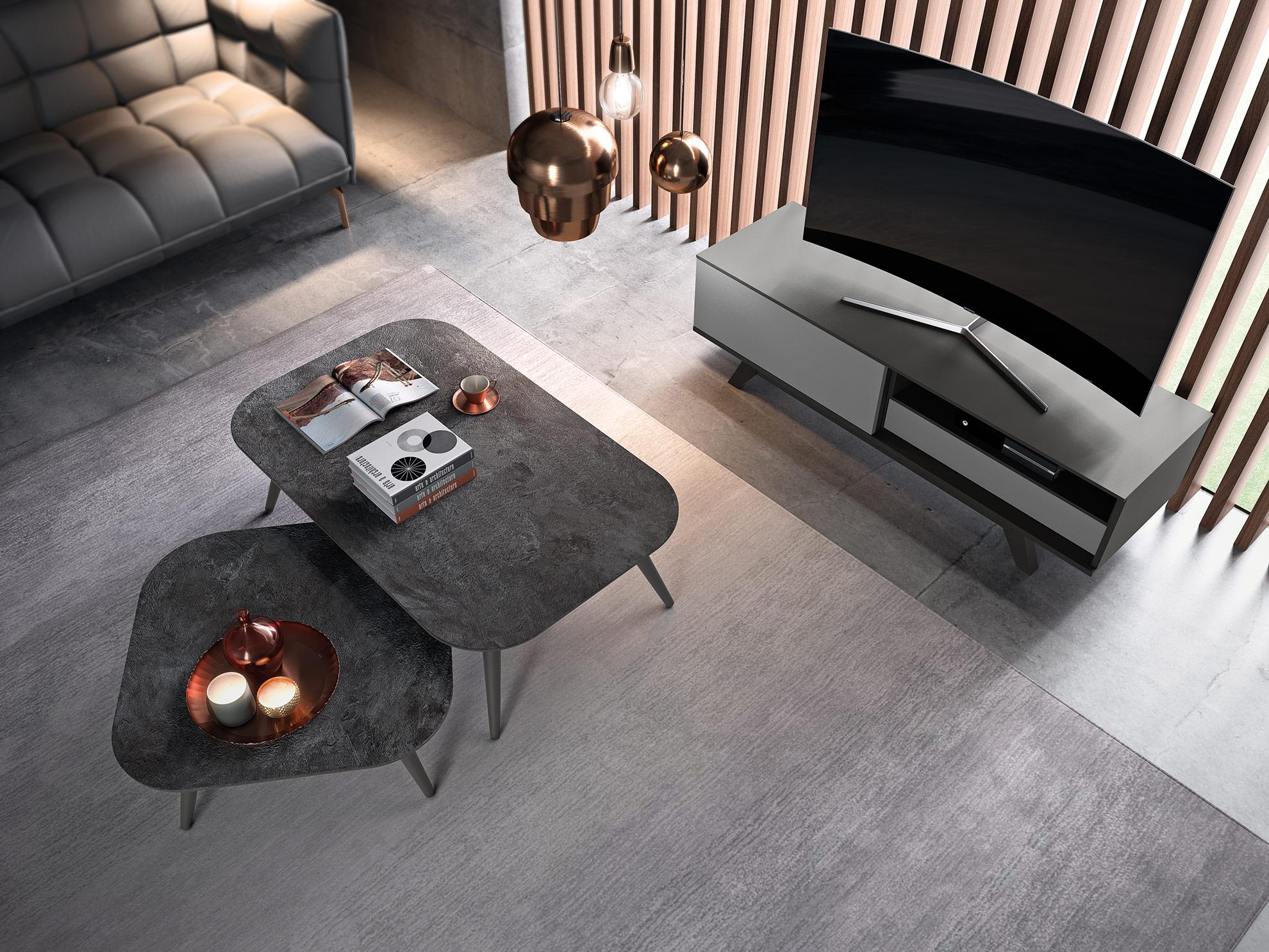 Tables basse design avec plateau céramique, verre ou bois